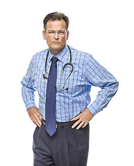 Serious Male Doctor with Stethoscope on White
