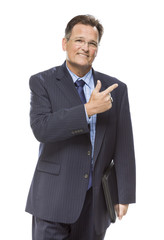 Handsome Businessman Pointing to the Side Isolated on White