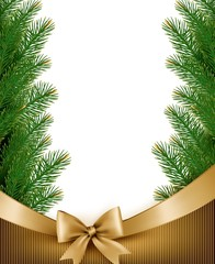 Christmas background with christmas tree branches and gold ribbo