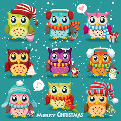 Vintage Christmas poster design with owls, Santa Claus, snowman