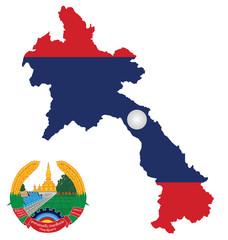 Loa peoples Democratic Republic flag map