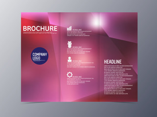 abstract blue red brochure design template vector tri-fold
