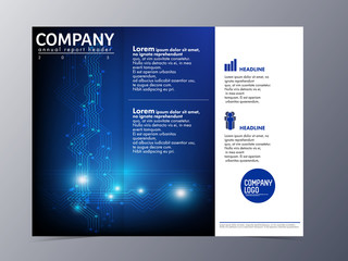 abstract blue brochure design template vector tri-fold
