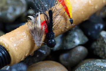 Fishing Flies on Cork Handle