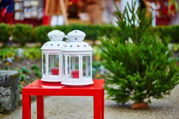 Two lanterns on a Parisian Christmas market