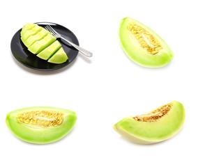 set of green cantaloupe melon