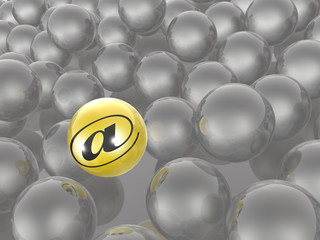 Yellow and grey spheres