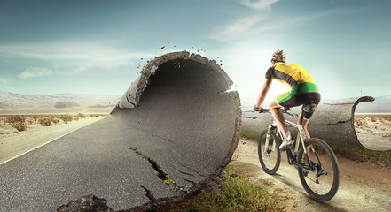 Sport  background. Unreal mountain bike/