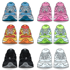Vector Set of Cartoon Color Running Shoes