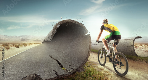 Sport  background. Unreal mountain bike/ - 74619344