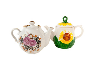 Two Porcelain teapot with floral ornament on white