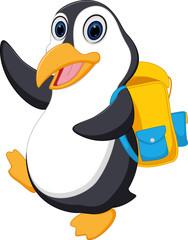 Happy penguin cartoon going to school