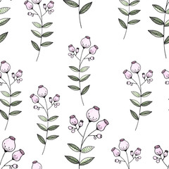 Seamless pattern color pencil hand drawn flower.
