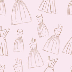 Sketches design dress hand drawn pen illustration seamless
