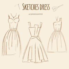 Sketches dress hand drawn illustration.