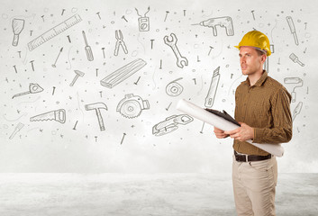 Construction worker planing with hand drawn tool icons