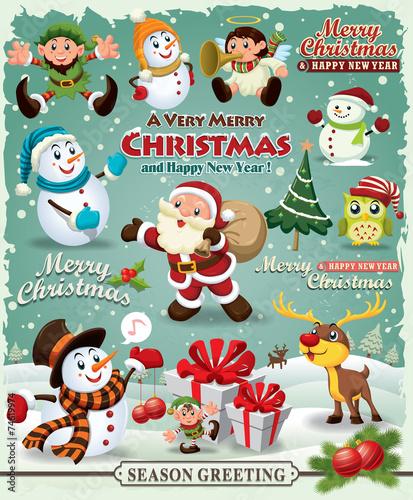 Vintage Christmas poster design Christmas design element - 74619974