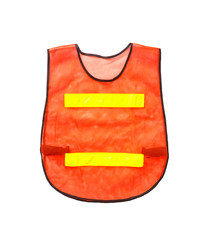 Orange vest, isolated on white and clipping path.