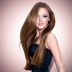 Beautiful girl with long straight hair