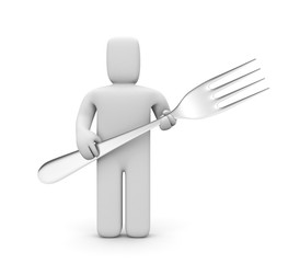Man holding a fork