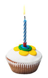 Burning candle on the cupcakes with decorations of mastic poster