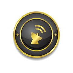 Satellite Dish Sign Gold Vector Icon Button