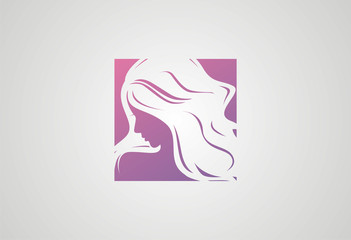 Woman Hair style Silhouette logo vector
