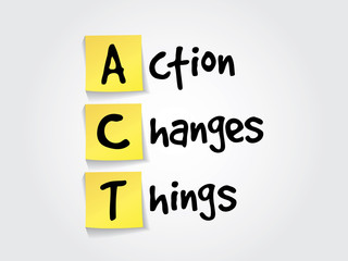 Action Changes Things (ACT) on yellow sticky notes,  vector