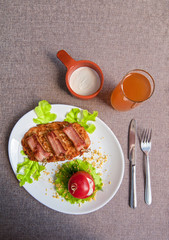 veal meat with bacon