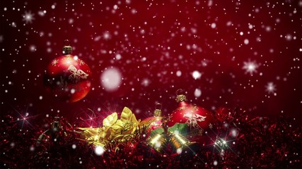 snowy red christmas background with red ball and snowflakes