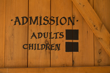 Admission sign