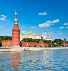 Kremlin wall, summer sunny day, Moscow, Russia