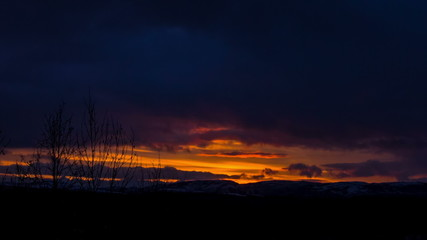 Sunset over the hills in autumn