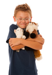 a kid with toys isolated over white background