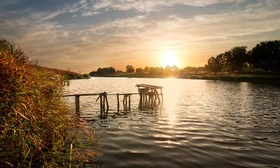 Fishing sigean at sunset
