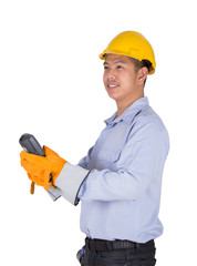 Engineer holding the remote control
