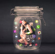 Businesswoman captured in a glass jar with colourful app icons c