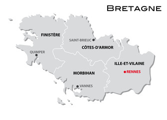 simple administrative map of brittany
