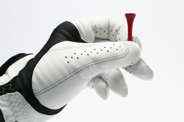 Golf Glove with Red Tee