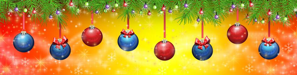 Баннер новогодний ,шары, гирлянда. Векторная иллюстрация.