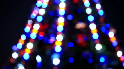 Bokeh of christmas tree decoration. Shift motion with change