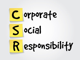 Corporate Social Responsibility (CSR) on yellow sticky notes