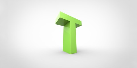 T 3D font big neon green letter on white gray background