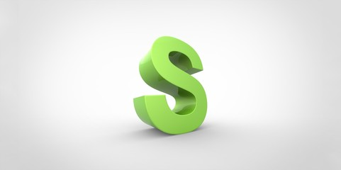 S 3D font big neon green letter on white gray background