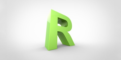 R 3D font big neon green letter on white gray background