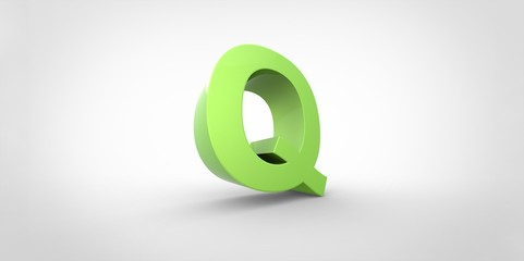 Q 3D font big neon green letter on white gray background