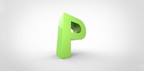 P 3D font big neon green letter on white gray background