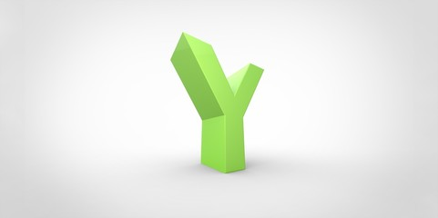 Y 3D font big neon green letter on white gray background