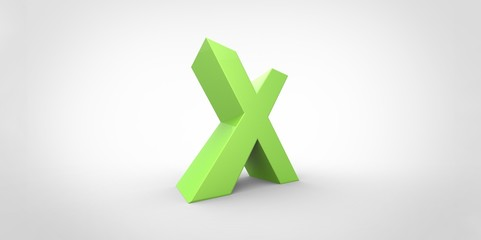 X 3D font big neon green letter on white gray background