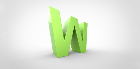 W 3D font big neon green letter on white gray background